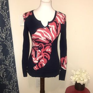 Lilly Pulitzer Charter Sweater Navy Tiger Jacquard